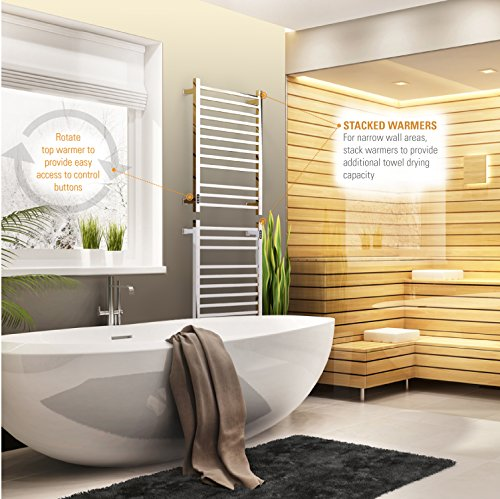 Brandon Basics Wall Mounted Electric Towel Warmer with Built-in Timer and Hardwired and Plug in Options (Brushed)