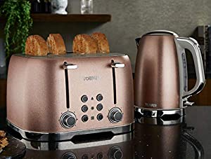Tower Blush Pink Glitz Jug Kettle and 4 Slice Toaster Set - 1.7Ltr - 3Kw - Stainless Steel