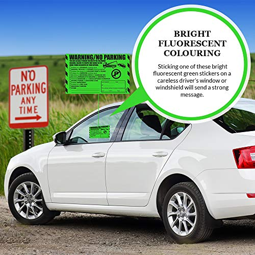"""Parking Violation Stickers for Cars (Fluorescent Green) - 100 Illegal Warning Reserved, Handicapped, Private Parking and More/No Parking Hard to Remove and Super Sticky Tow Warnings 8"""" x 5"""" by MESS Photo #2"""