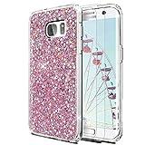 Feyten Funda Galaxy S7 Edge con 2-Unidades Cristal Vidrio Templado, Purpurina TPU Silicona Suave con Brillante Protección cáscara para Samsung Galaxy S7 Edge (Rosa)