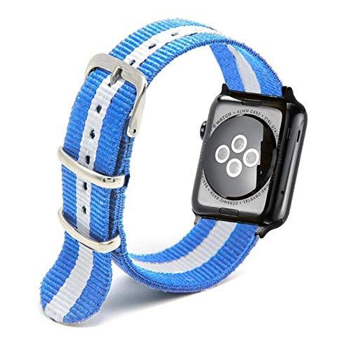 Correa de reloj de nailon tejida para Apple Watch, correa de cinturón de pulsera de nailon para iWatch SE / 6/5/4/3/2/1-azul claro, 38 mm