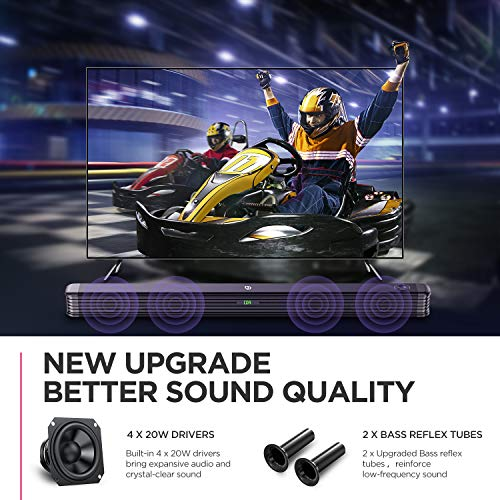 BOMAKER 2.1 Channel Soundbar with Wireless Subwoofer, 150W Soundbar for TV, Deep Bass, 120dB Surround Sound System, Wall Mountable, Optical Input, RCA Cable Included