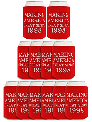 21st Birthday Gift Ideas Making America Great Since 1999 21st Birthday Decorations 21st Birthday Gifts for Men 12 Pack Can Coolie Drink Coolers Coolies Red