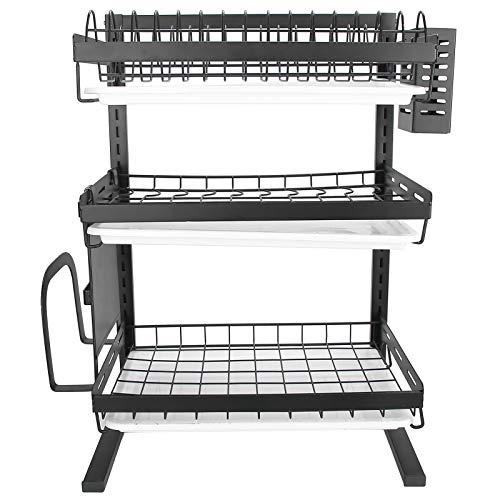 Estante de almacenamiento de vajilla, 16,1 x 11,8 x 22,4 pulgadas, resistente al calor, resistente al calor, estante para secar platos de acero inoxidable para cocina, fregadero para armario