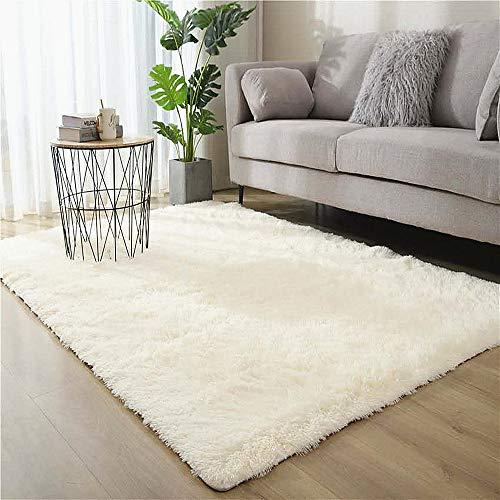 Tapis en peluche F-FISH, tapis moelleux, tapis décoratif rectangulaire absorbant antidérapant simple adapté à la décoration de la maison dans le salon et la chambre (80 x 120 cm) (blanc)