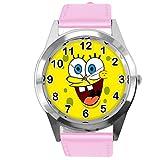 taport® Esponja Bob Cuadrado Pantalones reloj de cuarzo rosa piel banda + libre batería de repuesto + libre bolsa de regalo