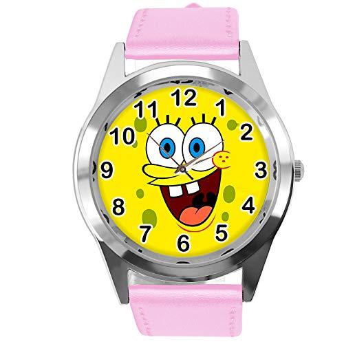 taport® Sponge Bob Square Pants Quarzuhr pink Leder Band + Gratis Ersatz Batterie + Gratis Geschenkverpackung