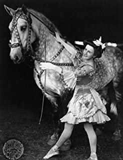 c1908 photo Female bareback rider in costume with horse. A Circus girl / Glas b1