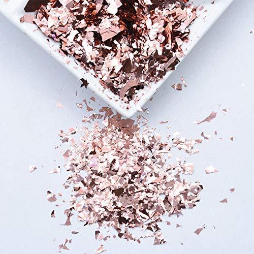 20g / paquet irrégulier Shell papier paillettes bricolage Nail Flakies coloré paillettes Nail Art paillettes pour 3D Nail Art décoration, or rose, 20g