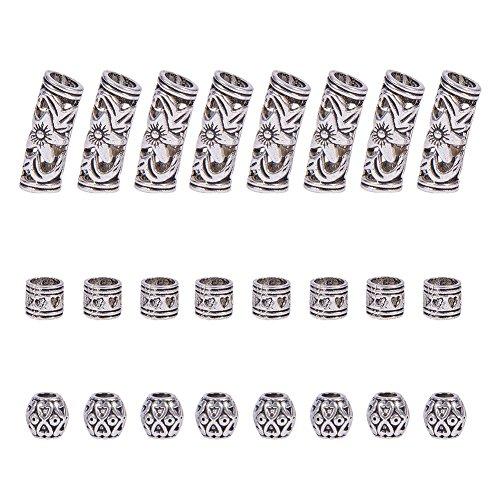 NBEADS 60Pcs di 3Stili Dreadlocks Beads–Perline Capelli Capelli Gioielli Capelli Accessori Decorativi in Stile Tibetano, Argento Antico