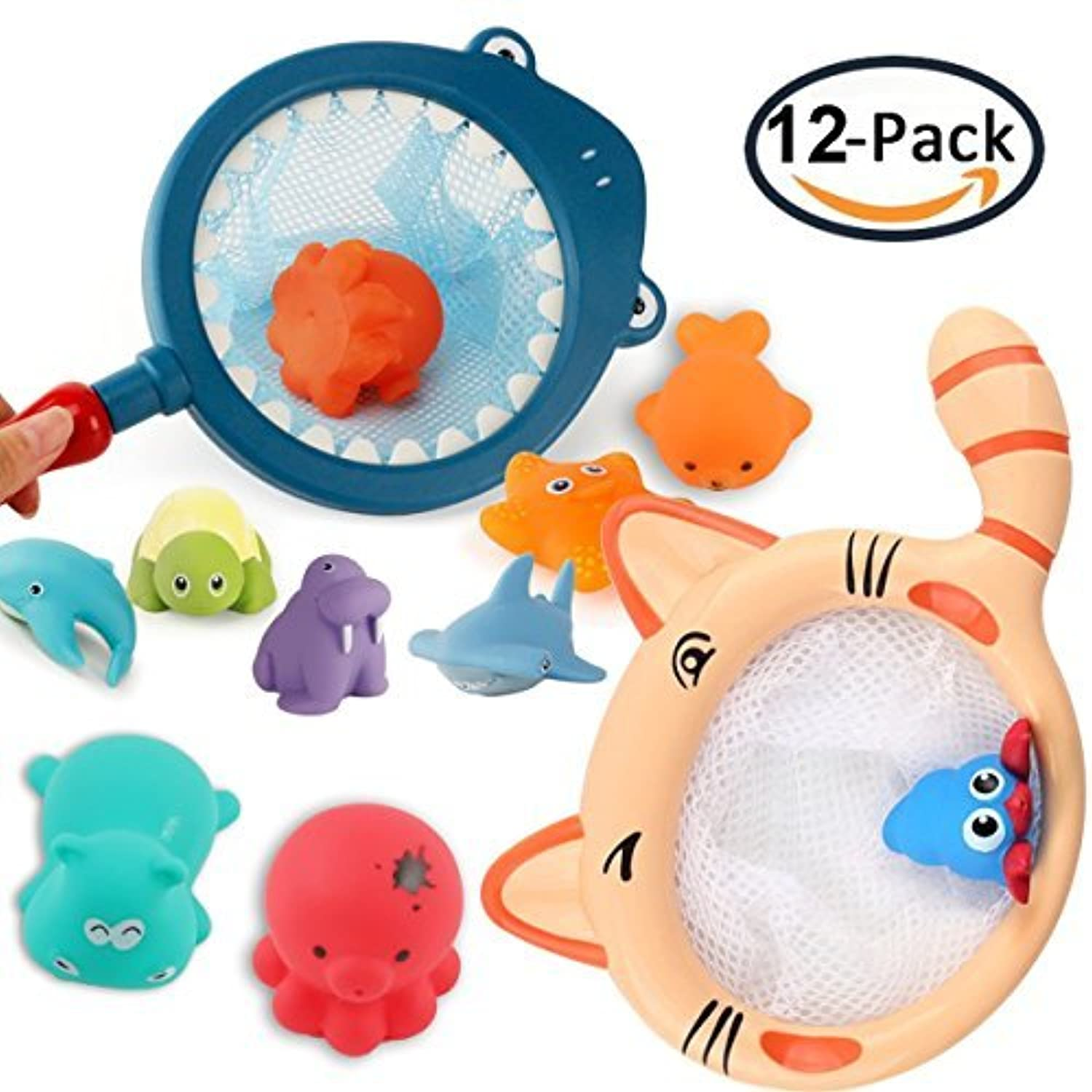 EXSPORT Animal Bath Toys for Kids Babies and Toddlers Ocean Animals Bath Toys Fishing Net Floating Animals Water Toy Kids Bath Time Play Set Shark Dolphin [並行輸入品]