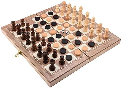 Ajedrez Internacional 29.5X29Cm de madera de ajedrez plegable, portátil pieza de ajedrez juego de tablero de ajedrez en tres dimensiones for adultos, juguetes de entretenimiento educativos for niños