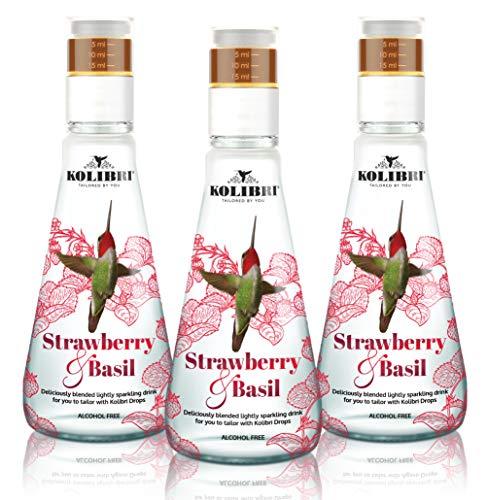Bebidas gaseosas de fresa y albahaca - Agua sin alcohol, ligeramente espumosa con infusión botánica - Bajo en azúcar - Añada la dulzura al gusto (paquete de 3)
