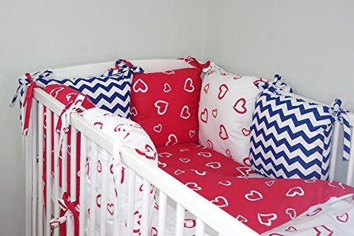 Baby's Comfort Parure de lit bébé ENSEMBLE DE 12 PIÈCES avec Tour de lit 6 coussins (24 couleurs) (s'adapte de matelas 120x60cm, 15a)