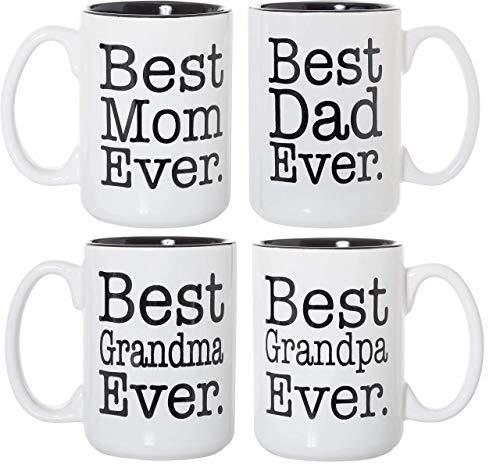 Best Mom Dad Grandma Grandpa Ever Black Inlay 4 Pack 15oz Deluxe Double-Sided Coffee Tea Mugs