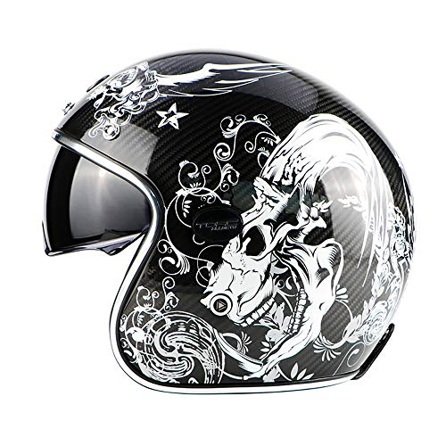 PURROMM Casco de Fibra de Carbono para Motocicleta-Hombres Adultos Mujeres Retro con Lente incorporada con Ranura para Gafas Casco 3/4 Dot Hades,XL