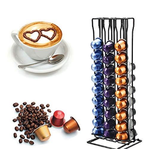 SYXZ Praktischer Kaffeekapselhalter Turmständer Für 60 Nespresso Kapseln Aufbewahrungskaffeekapseln,Schwarz