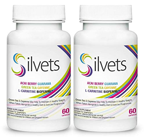 ✅Silvets (2x) Voedingssupplement met L-carnitine, acaibes, guarana, groene thee, cayennepeper, helpt om een gezond gewicht te behouden, geschikt voor vegetariërs (120 capsules)
