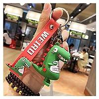 車キーホルダ ファッションかわいい恐竜キーチェーンキーリング漫画動物のキーチェーン車のバッグペンダントキーリングギフト 生活雑貨 (Color : White)