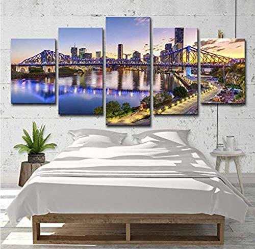 MNMXW Leinwand Malerei Hd Print Poster Australische Stadt Sonnenuntergang Landschaft Wohnzimmer Dekor Kunstwerk 5 Stück Modern Home Modular Bild Hintergrund Wandkunst