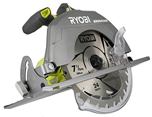 Ryobi P508 One + 18V Iones de litio sin cable Sin escobillas 7 1/4 3,800 RPM Sierra circular con hoja incluida (batería no incluida, solo herramienta eléctrica)