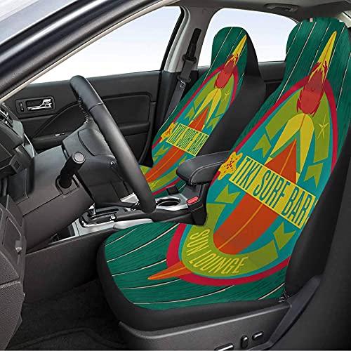 MIHPS-23S_F&F Funda para asiento de coche de 2 piezas, Tiki Bar Tiki Surf Bar Sun Lounge Vacaciones Tema Tabla de surf Crab Starfish Print Auto Seat Cover Multicolor