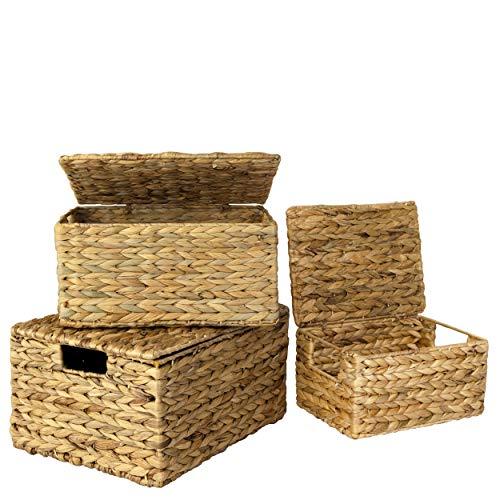 Juego 3 cesta de mimbre con tapa y asa para organización y decoración del hogar,Cestas con tapa de mimbre para estantes con asas de inserción,Organizador tejido de alambre de paja para despensa,cocina