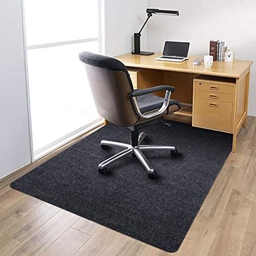 140 cm x 90 cm alfombra de oficina para madera dura, 1/6 pulgadas de grosor, 100 % fibra de poliéster para oficina o hogar (gris oscuro)