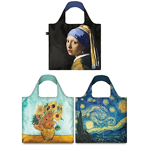 LOQI Mixed Museum Reusable Bags (Set of 3), Van Gogh + Girl with a Pearl Earring