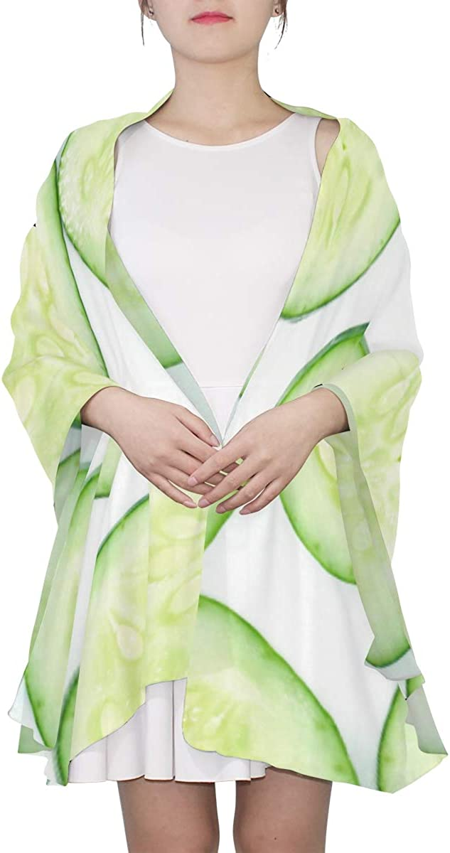 Green Healthy Food Cucumber Unique Fashion Scarf For Women Lightweight Fashion Fall Winter Print Scarves Shawl Wraps Gifts For Early Spring