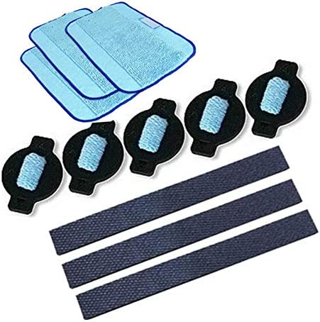 ZRNG 11pcsrobot wiel band Mop Doek Water Cap Replacment Fit For IRobot Braava 320 380 381 380T 390 390T Mint 4200 4205 5200 5200C ColorBlue and black