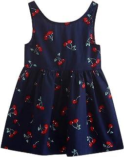 Makalon Baby M/ädchen Sommer Freizeit Baumwolle Mischung Blumendruck Pageant Rock Kleid Kinder Mode Elegante Streifen Button Party /ärmellose Outfits Prinzessin Kleider