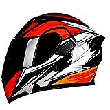 ABDOMINAL WHEEL Casco Moto Modular,Casco Integral Moto con Lente de Espejo Doble HD,Certificado ECE Unisexo Forro de Malla Extraíble Y Lavable Casco Moto A,XL=60~61cm