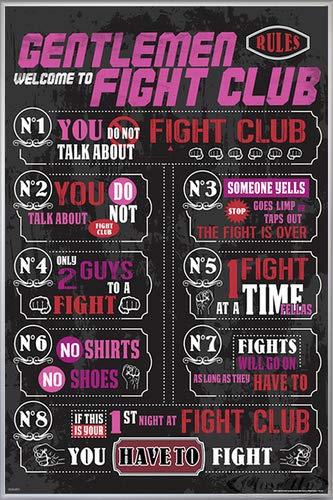 Fight Club Poster Rules (93x62 cm) gerahmt in: Rahmen Silber matt