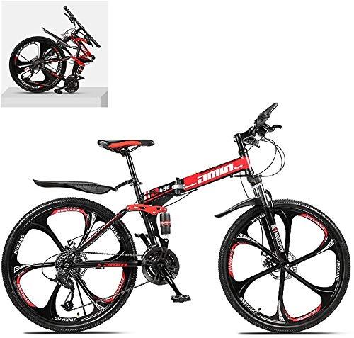 26 bicicletas de montaña plegable pulgadas, alto contenido de carbono marco de acero de doble absorción de impactos 21/24/27/30 de velocidad variable, todo terreno plegable rápida montaña de adulto fu