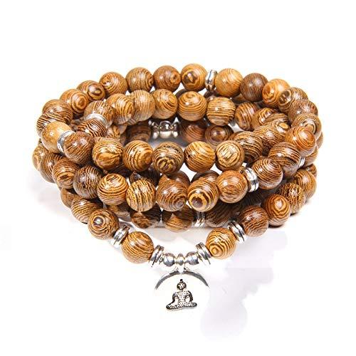 MULTI-CAPAS MALA Pulseras Men Rosary Buda Natural Wood 108 Beads Lotus Charm Pulsera de oración para mujeres Joyería afortunada Buddha