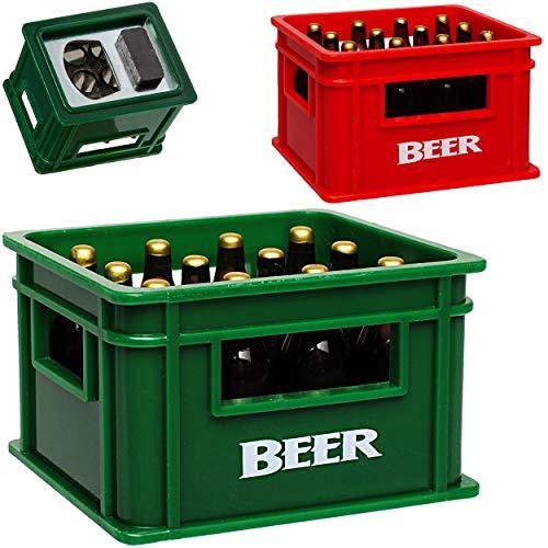 alles-meine.de GmbH Flaschenöffner & Magnet - Bierkasten Farb-Mix - sehr stabil - Magnete z.B. für Kühlschrank - Kühlschrankmagnet / Magneten - Deko Dekofigur Bierflasche Bierkis..