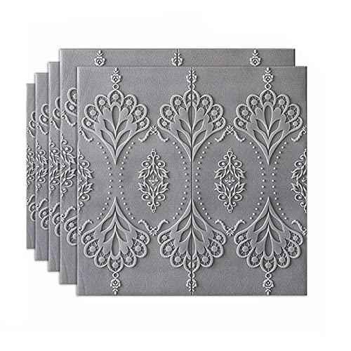 LICHAO フォームレンガの壁パネルレトロな3D壁パネル5パネル上級装飾レンガ壁紙刻まれたパターンテクスチャブリックの壁パネルの自己接着性の泡立て器(色:グレー、サイズ:5ピース) (Color : Gray, Size : 5pcs)