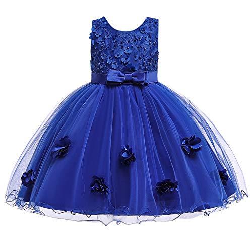 Livoral Baby Madchen Strampler Formales Tüllkleid der Kleinkindkinderbabyspitzeblumenprinzessin-Partyshow(Blau,130)