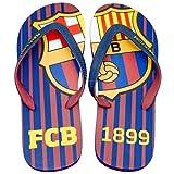 FCBarcelona Chanclas Hombre Verano Playa Piscina - Sandalias Goma Planas Caminar Zapatos colección Futbol Club Barcelona - Barça zapatillas edición limitada - Escudo FCB 1899 Talla S 39-40