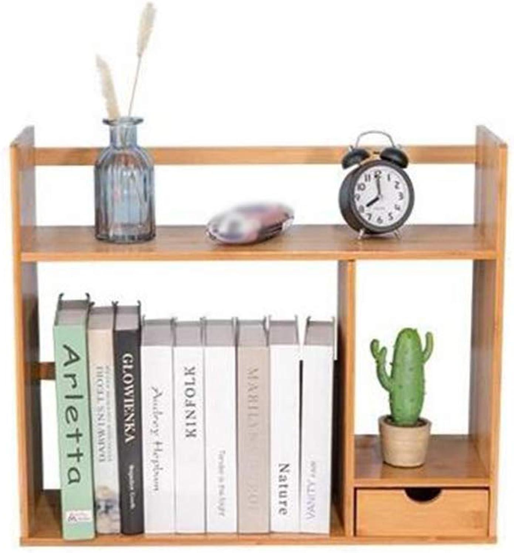 Bookshelf Bamboo Storage Desktop Display Rack Drawers Organiser Office Home Adjustable Expandable CJC (Size   48  18.5  46CM)