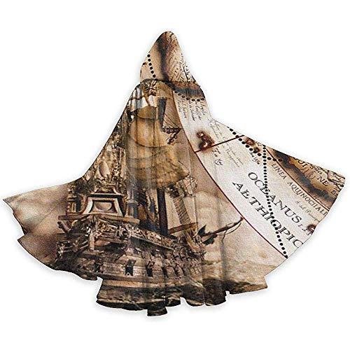 KDU Fashion Cape Hexe,Vintage Piraten Schiffskarte Wandbilder Premium Hooded Wizard Kostüme Für Jungen Mädchen Kinder, 40x150cm