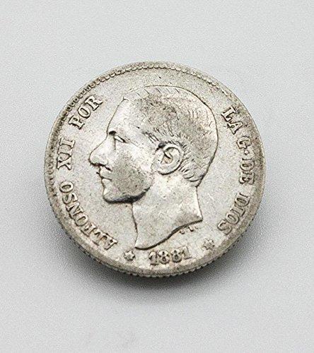 Desconocido Moneda de 1 Pesetas de Plata del Año 1881 Durante La Epoca de Alfonso XII. Moneda Coleccionable. Moneda Antigua.