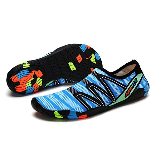 Joomouney Zapatos descalzos para hombre y mujer, unisex, antideslizantes, suaves, de secado rápido, transpirables, portátiles, para nadar, para exteriores e interiores, color Azul, talla 42 EU