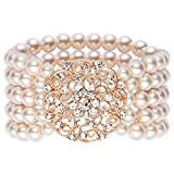 BABEYOND 1920s Flapper Imitation Pearl Bracelet Great Gatsby Elastic Pearl Bracelet Roaring 20s Accessories Jewelry 4 Rows (Style 2-Rose Gold)