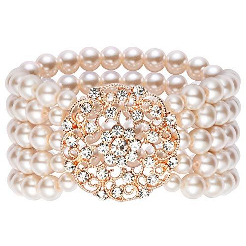 ArtiDeco 1920s Armband Perlen Damen Gatsby Kostüm Zubehör Blinkende Kristall Armreif 20er Jahre Accessoires für Damen (Stil 2-Rose Gold)