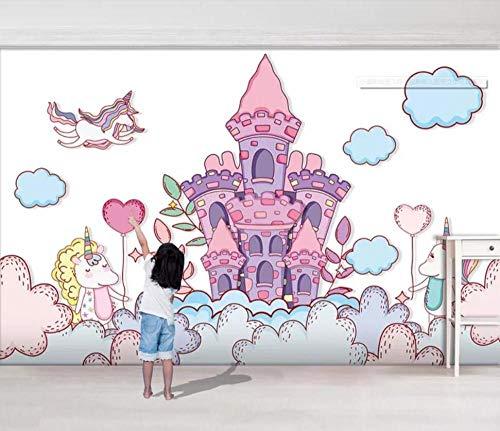 SKTYEE Pequeño castillo fresco que vuela unicornio sala de niños fondo tridimensional murales de papel tapiz decoración de pared, 430x300 cm (169.3 por 118.1 in)