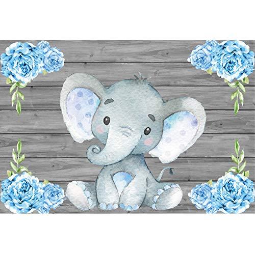 YongFoto 2,2x1,5m Vinile fondali fotografici Piccolo elefante Fiori blu Fondo in legno Compleanno Sfondo foto Studio fotografico video Fondale foto Decorazione del Partito Accessori