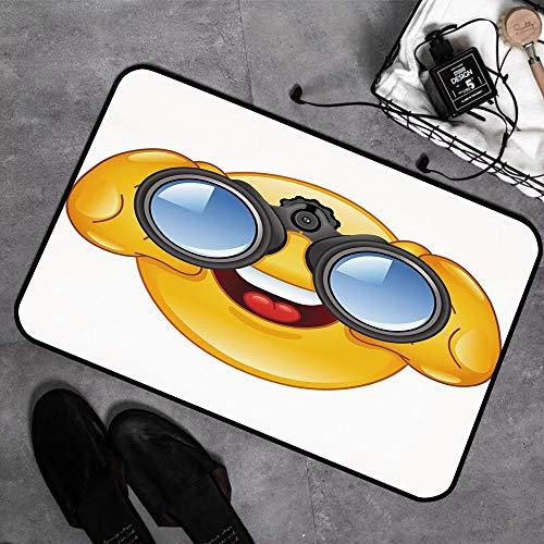 Memory Foam Badezimmer,Emoji, Smiley-Gesicht mit einer Teleskop-Fernglas-Brille, die draußen Cartoon-Druck, Gelb und Bl,Badeteppiche Saugfähige Rutschfester Badvorleger Waschbar Badematte - 45 x 75 cm