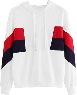 Romwe Women's Loose Casual Long Sleeve Pocket Sweatshirt Hooded Pullover Top